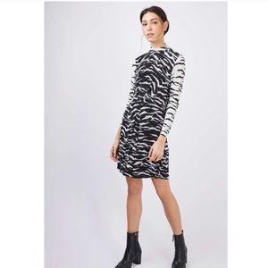 TopShop Zebra Micro-Pleated Plisse Dress Size 4